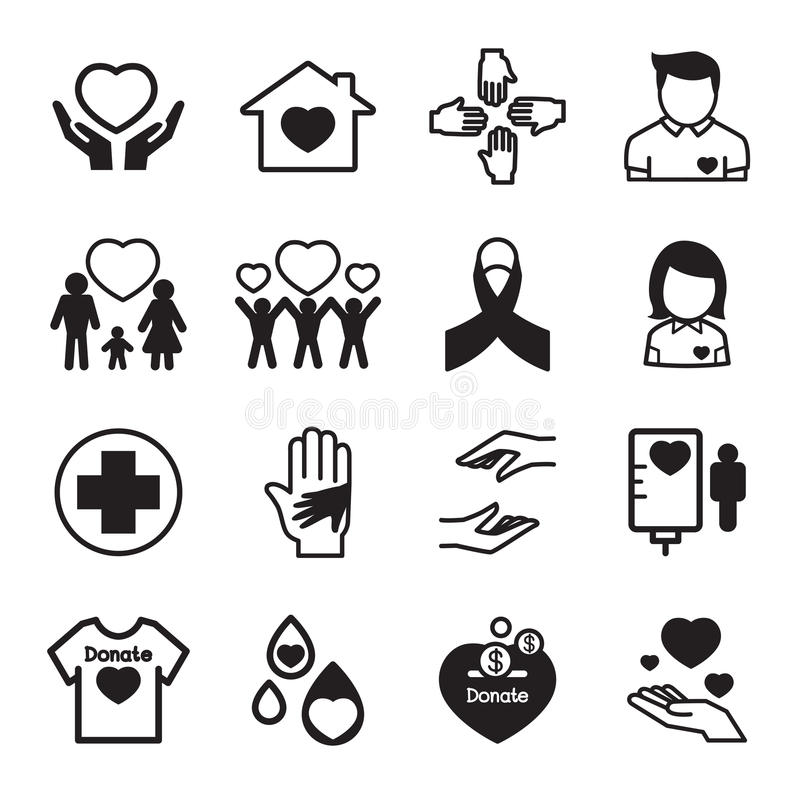 Give and Protect icons Set vector illustration