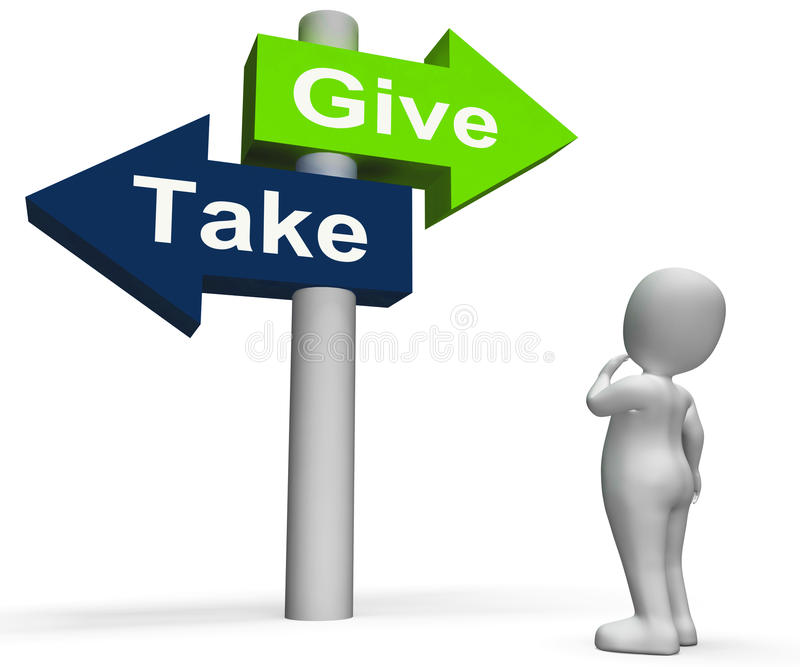 Give Take Signpost Shows Giving And Taking Stock Photo