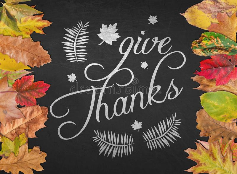 Give Thanks Design Quote Postcard Banner With Autumn Leaves Background