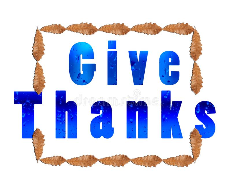 Give thanks for thanksgiving on white white brown leaf in square. On white background close stock images