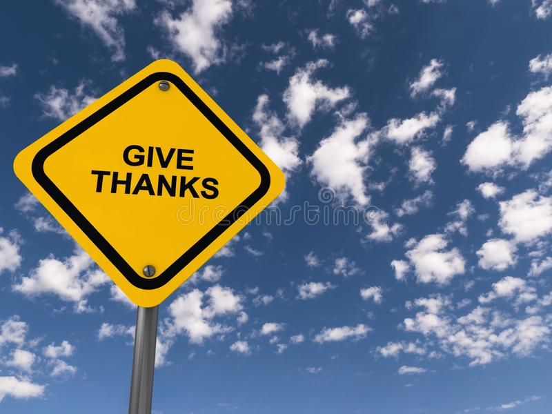 Give thanks traffic sign. On blue sky stock photo