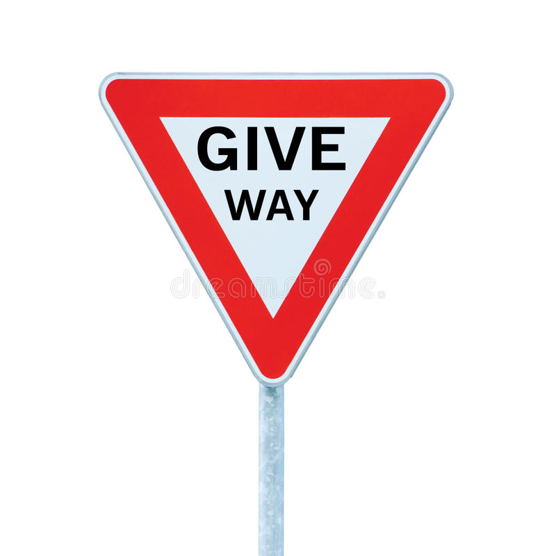 Give way text priority yield road traffic sign, large detailed isolated roadside signage closeup stock photo