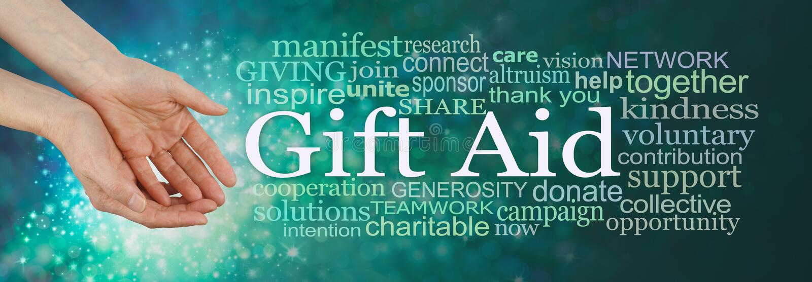 Give what you can Gift Aid Campaign Word Cloud royalty free stock image