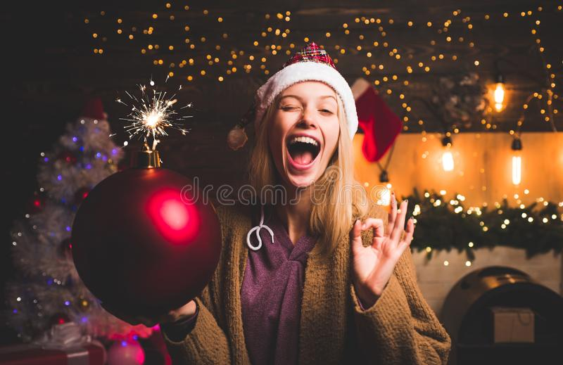 Give a wink. Crazy comical face. Young woman wink. Comic grimace. Funny Laughing Surprised Woman Portrait. Creative boom. Bomb emotions stock photo