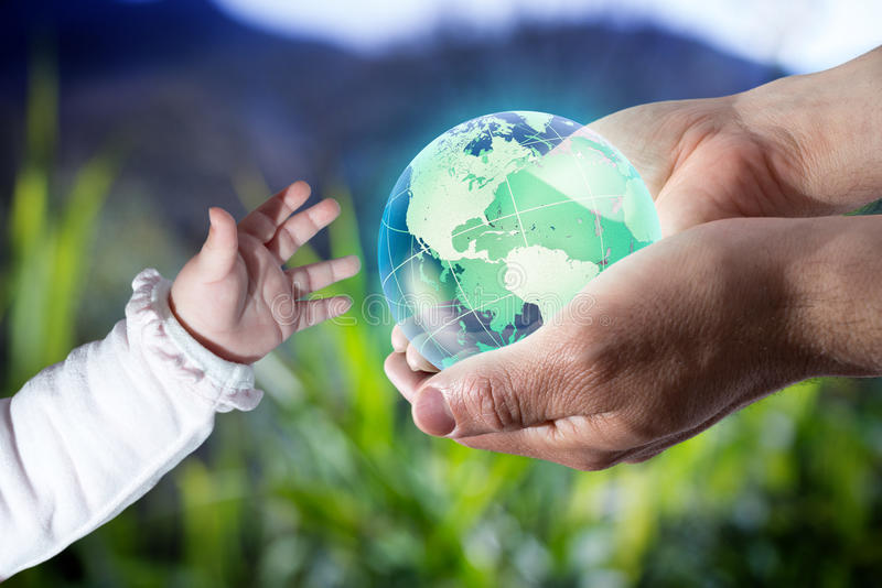 Give the world the new generation - Usa - green. Background stock images