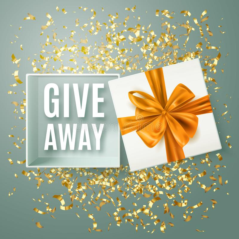Giveaway advertisement banner with realistic open gift box, decorative gold bow and confetti, vector illustration. Design vector illustration