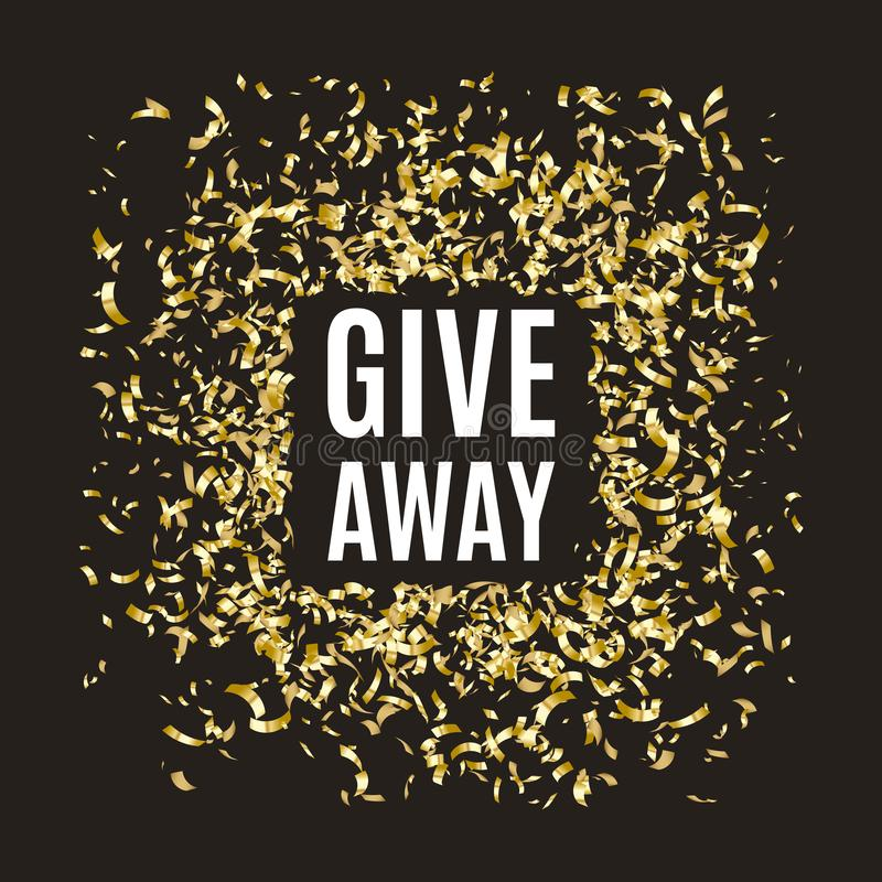 Giveaway banner with gold confetti frame, social media competition, vector illustration stock illustration
