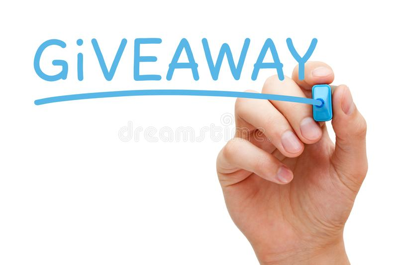 Giveaway Blue Marker. Hand writing Giveaway with blue marker on transparent wipe board royalty free stock images