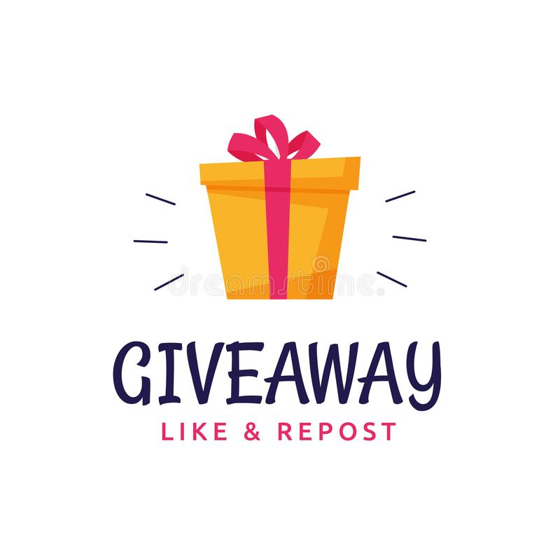 Giveaway logo template design for social media post or website banner. Gift box icon vector illustration with modern typography. Text style stock illustration