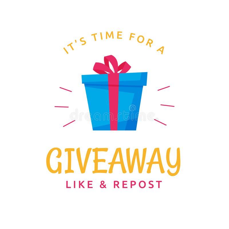 Giveaway logo template design for social media post or website banner. Gift box icon vector illustration with modern typography. Text style vector illustration