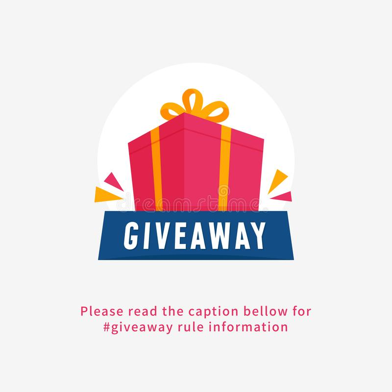 Giveaway poster for social media announcement post template design. Big gift box illustration with ribbon graphic vector. Eps 10 royalty free illustration