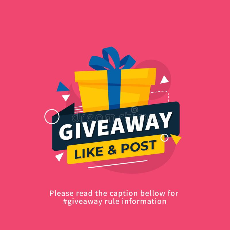 Giveaway poster template design for social media post or website banner. Gift box vector illustration with modern typography text. Style. eps 10 stock illustration
