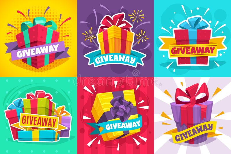 Giveaway winner poster. Gift offer banner, giveaways post and winner reward in contest, prize in boxes with ribbons. Flyer design vector give away game stock illustration