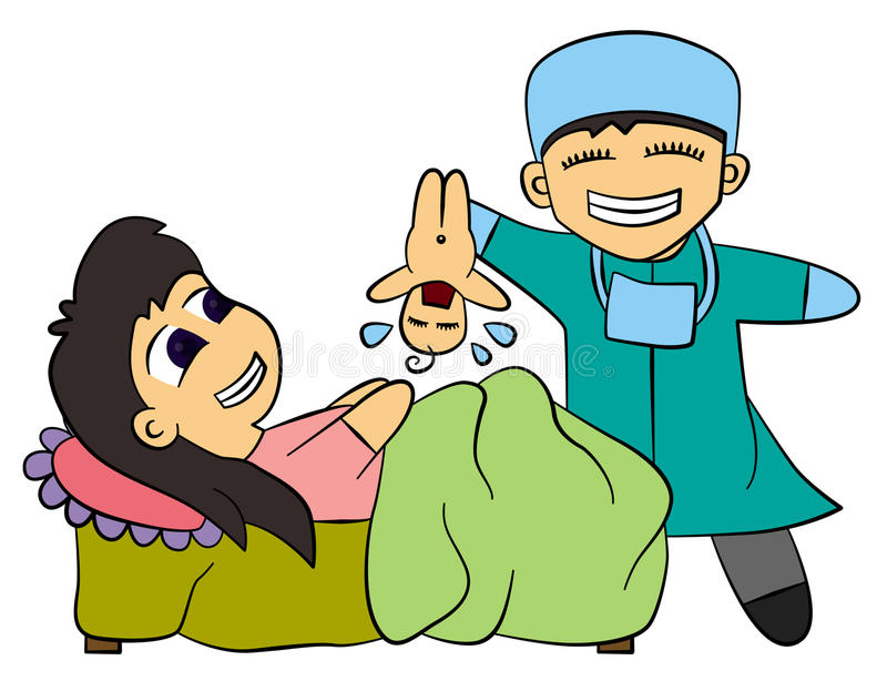 Giving birth. A cartoon mother just finished giving birth to her baby vector illustration