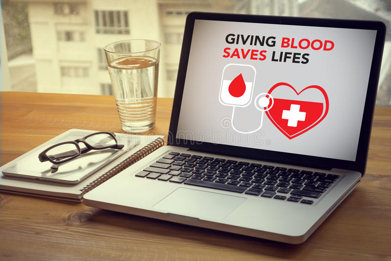 GIVING BLOOD SAVES LIFES Blood Donation Give Life stock photos