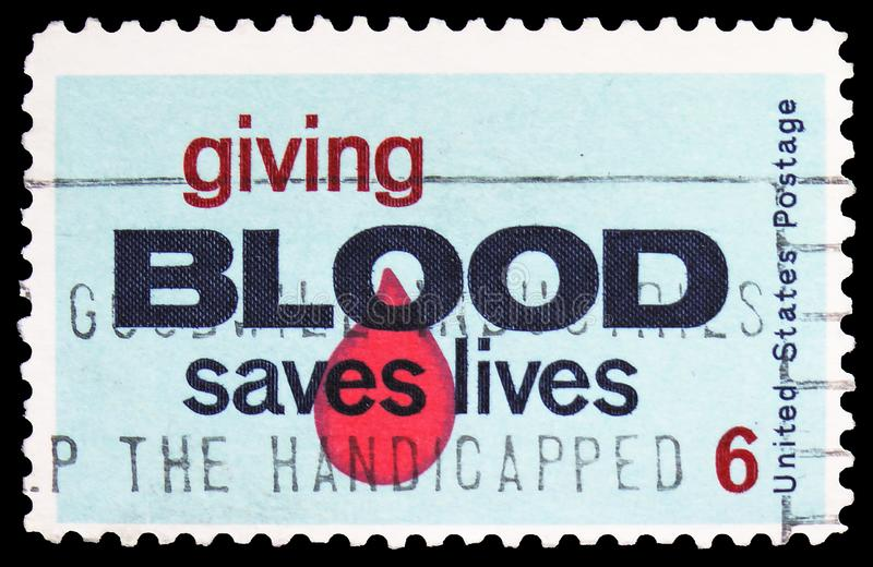 Giving Blood Saves Lives, Blood Donor Issue serie, circa 1971. MOSCOW, RUSSIA - MARCH 30, 2019: A stamp printed in United States shows `Giving Blood Saves Lives stock photography