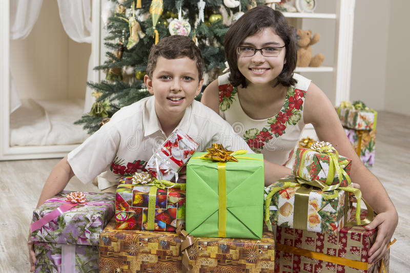 Download Giving Christmas gifts stock image. Image of boxes, colorful - 35237775