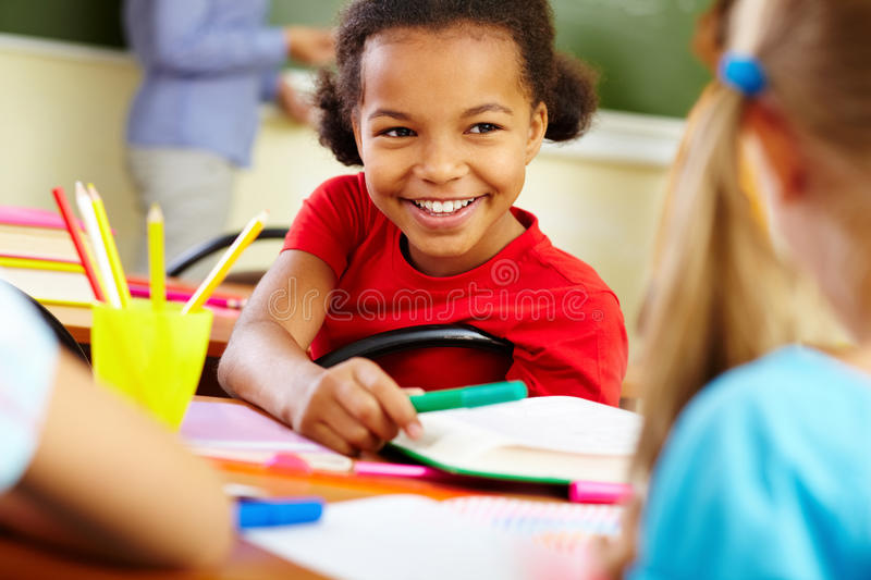 Giving crayon royalty free stock photo