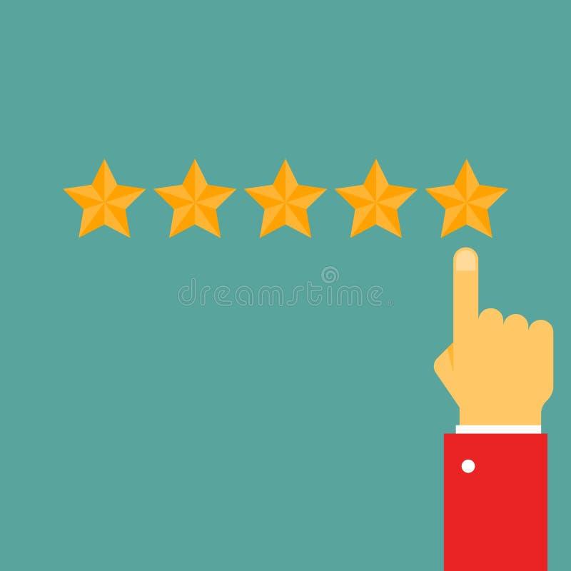 Giving five stars raiting stock illustration