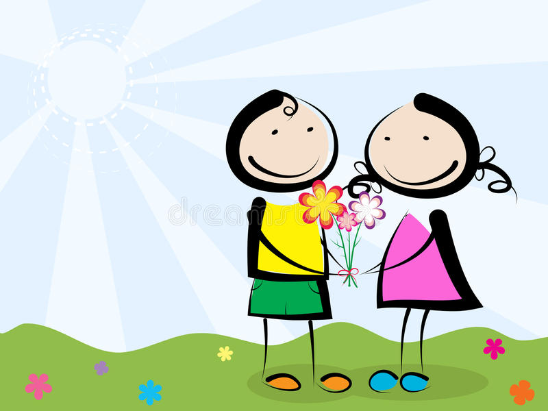Giving flowers. A boy giving flowers to a girl royalty free illustration