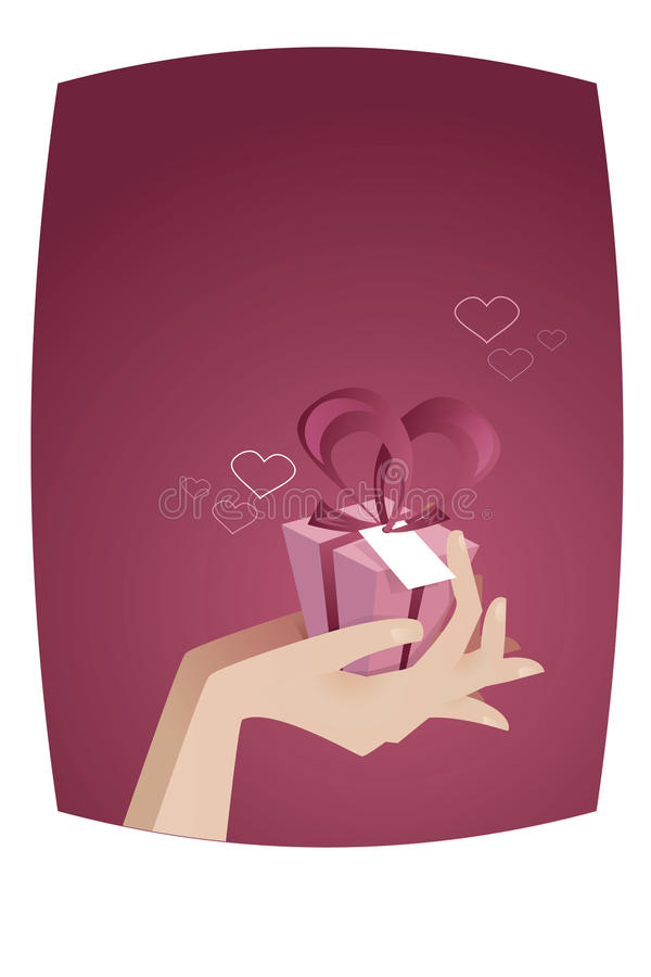Giving a gift vector royalty free illustration