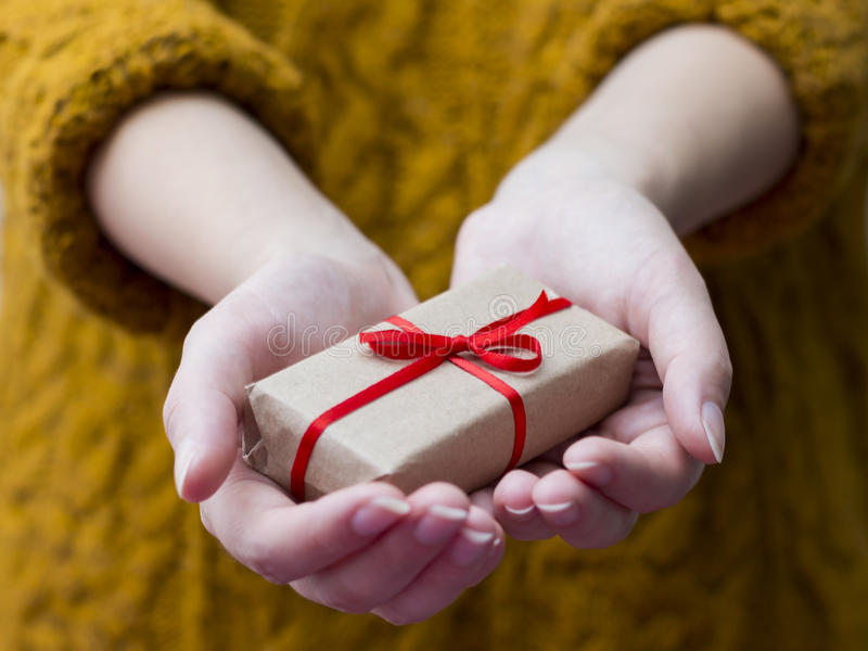 Giving a gift royalty free stock photography