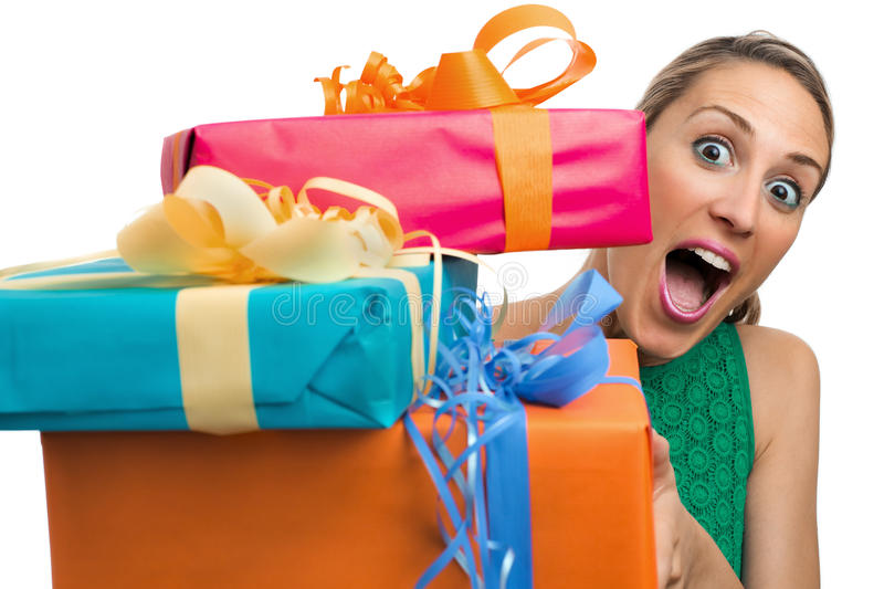 Giving gifts royalty free stock photo