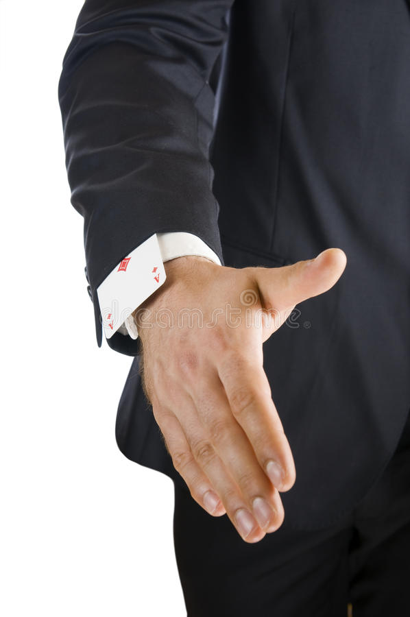 Giving hand with ace in sleeve royalty free stock photo