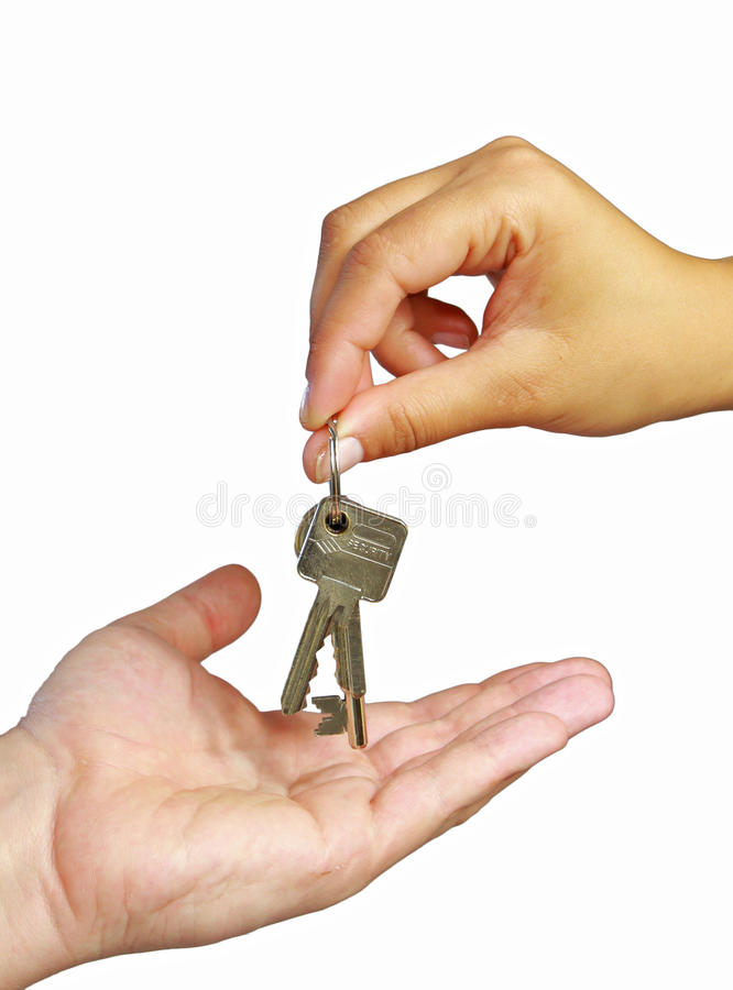 Download Giving keys to new home stock photo. Image of isolated - 15386260