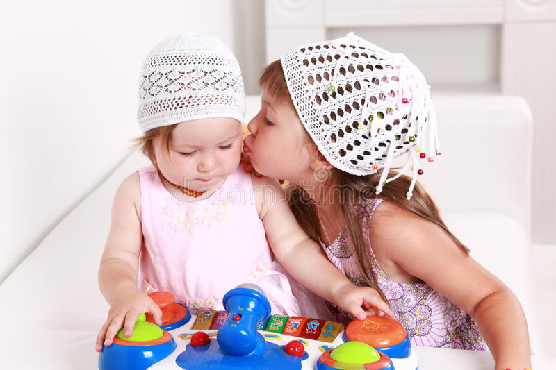 Giving a kiss royalty free stock image