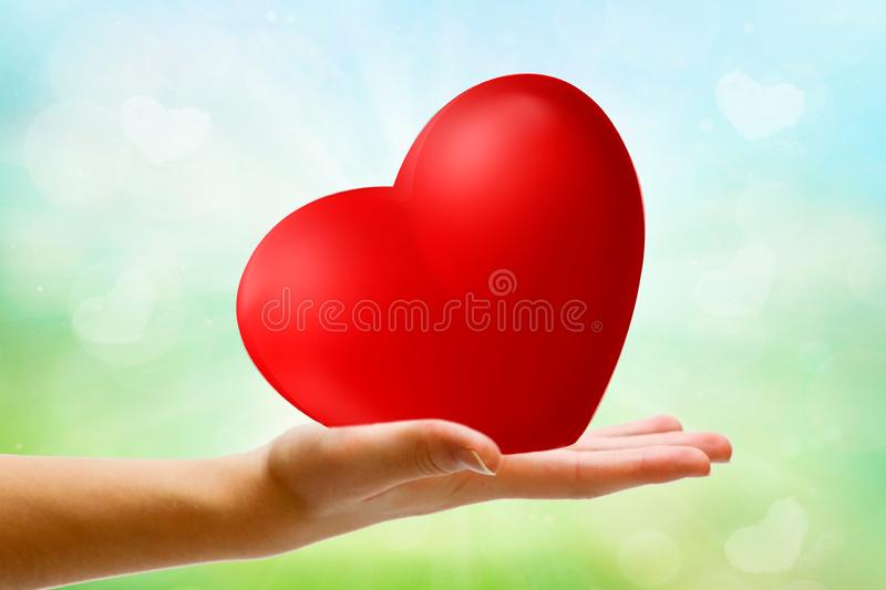 Giving love and care on spring background. Heart. Giving love and care. Heart royalty free stock images