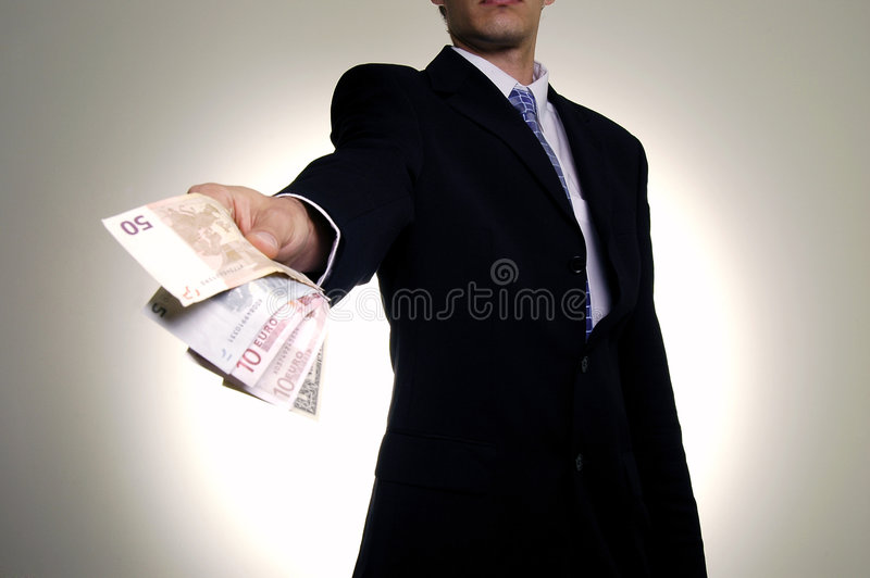 Giving the money royalty free stock image