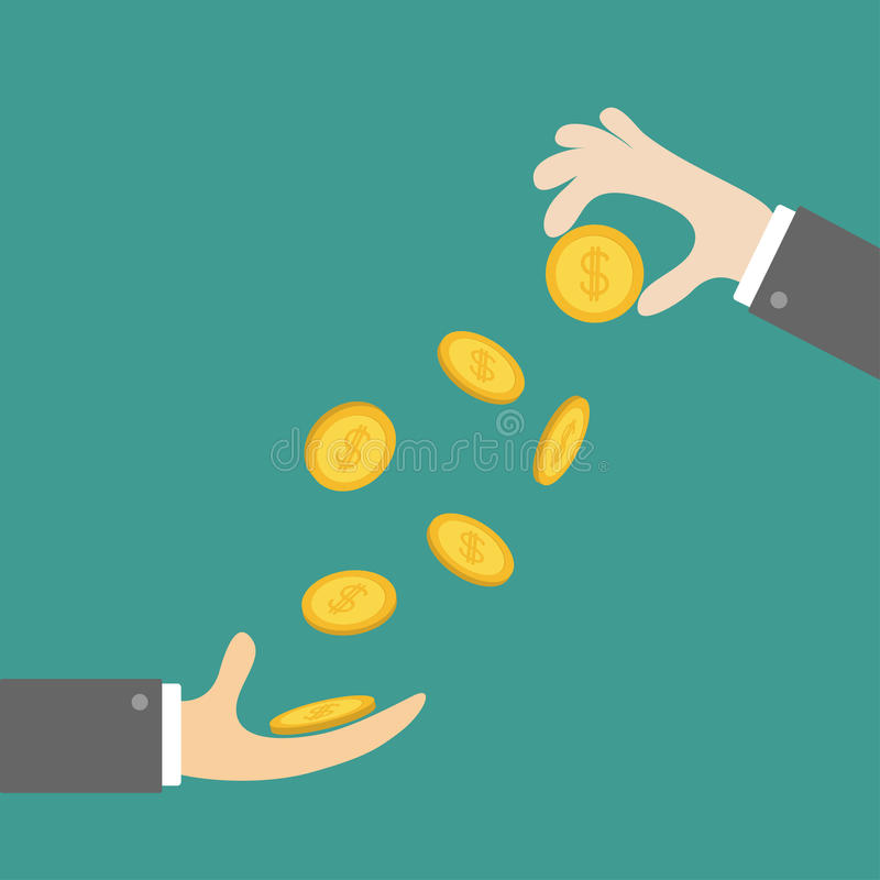 Giving taking Hands with falling down golden coin money dollar sign. Helping hand concept. Business support credit icon set. Flat stock illustration