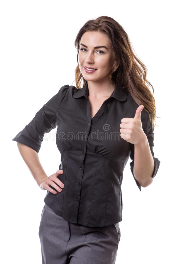 Giving a thumbs up!. Pretty business model giving the thumbs up gesture royalty free stock photography