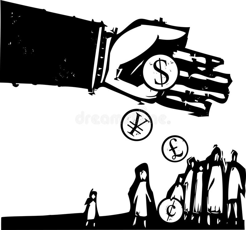 Giving to the Poor. Woodcut style expressionist image of a bankers hand pouring coins on a group of people royalty free illustration