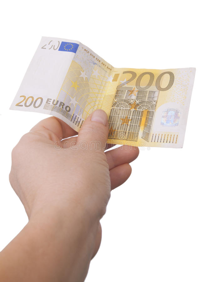 Giving A Two Hundred Euro Note Royalty Free Stock Images