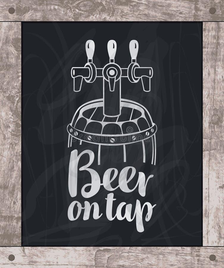 Giz de desenho do tambor de cerveja a bordo no quadro de madeira ilustração royalty free