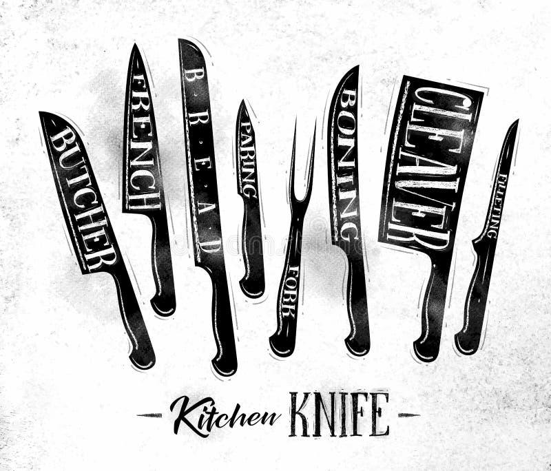 Giz do cartaz das facas de corte da carne da cozinha ilustração royalty free
