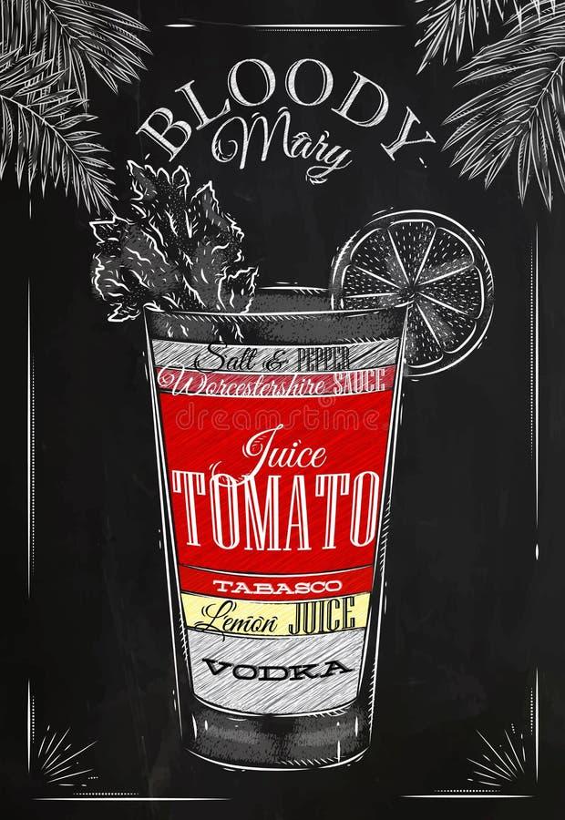 Giz do cocktail do Bloody Mary ilustração do vetor
