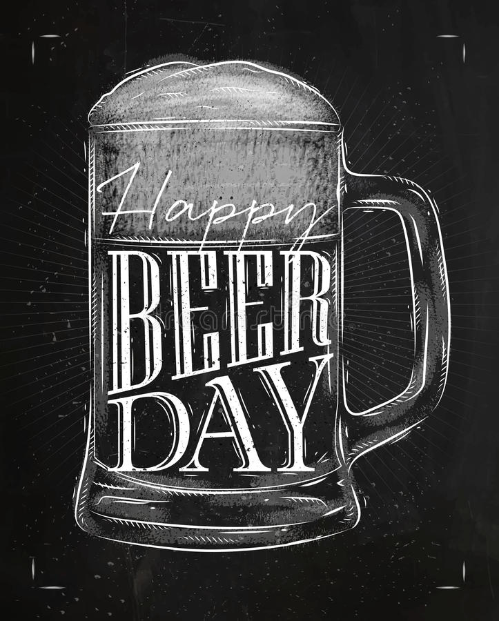 Giz do dia da cerveja do cartaz ilustração stock
