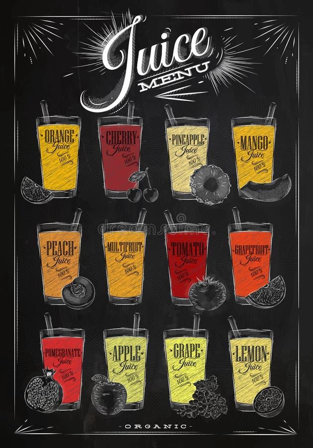 Giz do menu do suco do cartaz ilustração stock