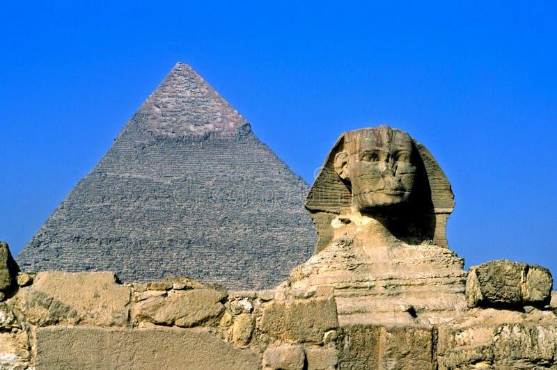 Giza, Cairo, Egypt. The Sphinx and the Great Pyramid, Giza, Egypt royalty free stock photo
