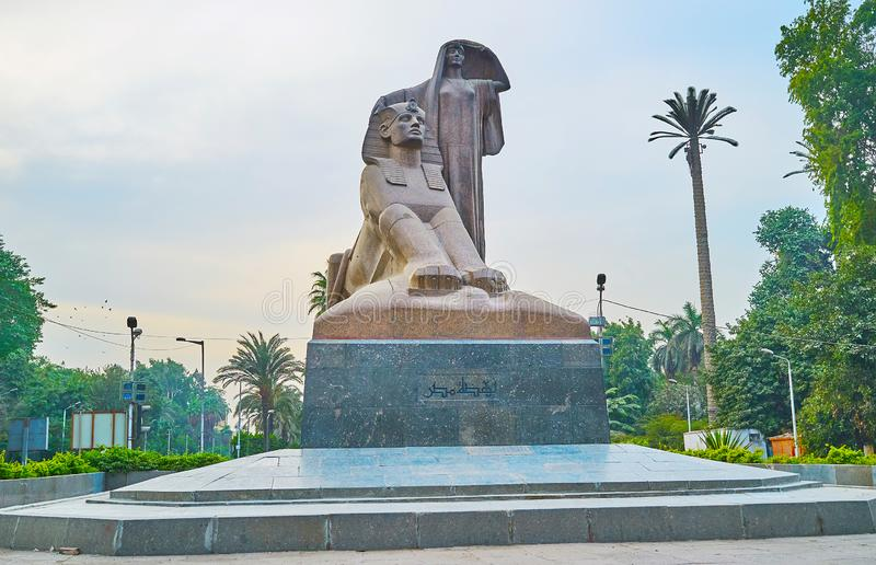 Nahdet Masr statue, Giza, Egypt. GIZA, EGYPT - DECEMBER 19, 2017: Impressive Nahdet Masr statue or Egypt`s Awakening represents the peasant woman and Sphinx royalty free stock photo