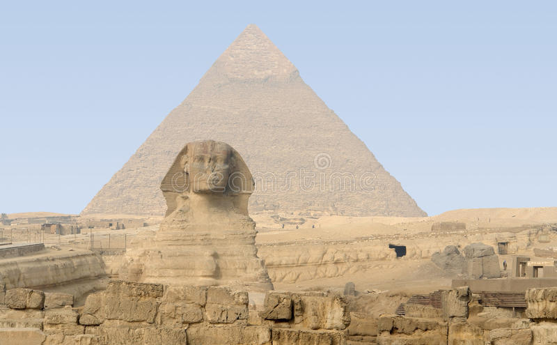 Giza Necropolis. The Giza Necropolis with pyramid of chefren and Sphinx stock images