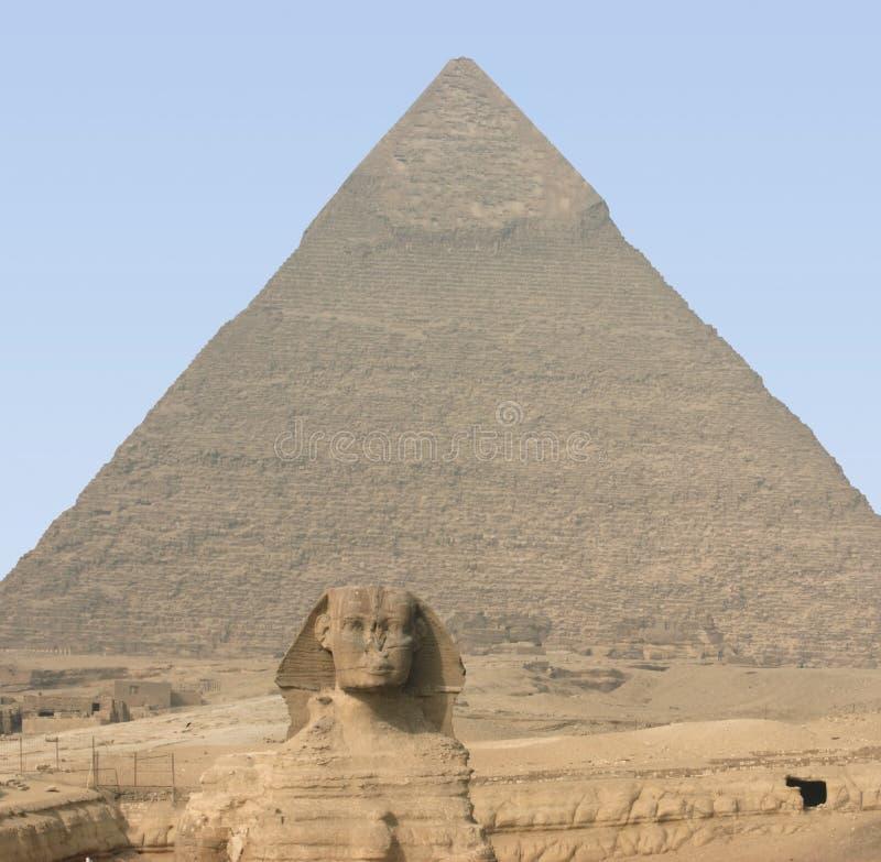 Giza Necropolis. The Giza Necropolis with pyramid of chefren and Sphinx stock photo