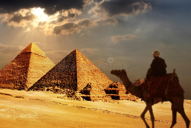 Giza pyramids, cairo, egypt royalty free stock images