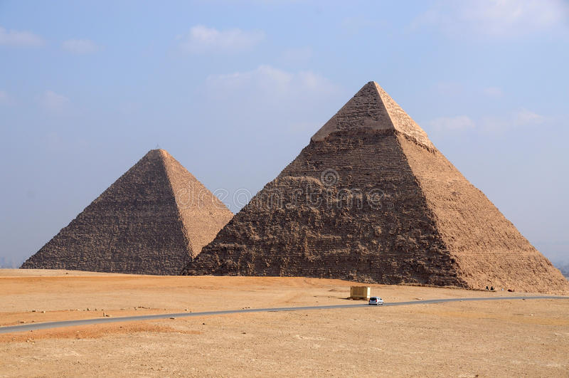Giza Pyramids of Egypt stock images