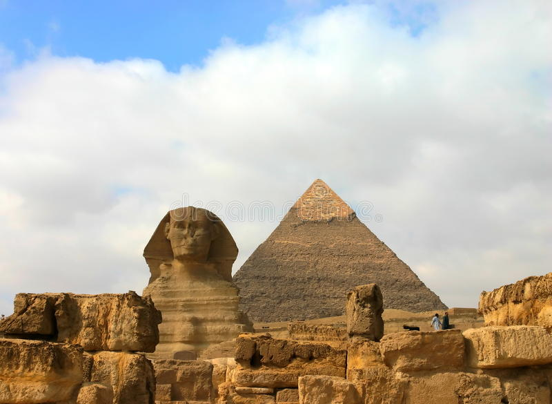 Giza pyramids and sphinx. Egypt. royalty free stock images