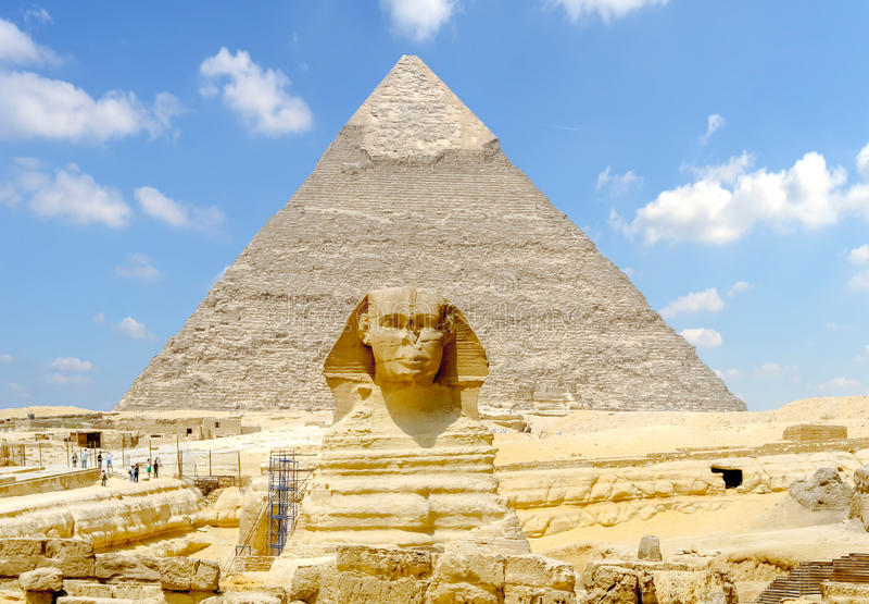 giza stor sphinx egypt arkivfoton