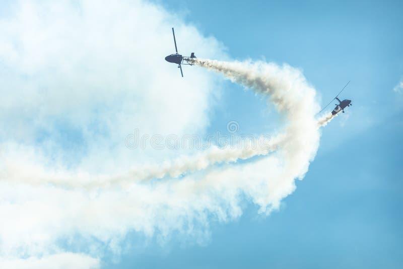 GIZYCKO,波兰- 2018年8月5日:旋转直升飞机或旋翼机在flig 免版税库存照片